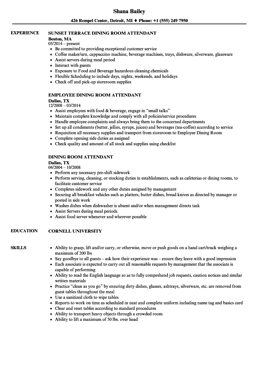 Dining Room Attendant Resume Samples | Velvet Jobs