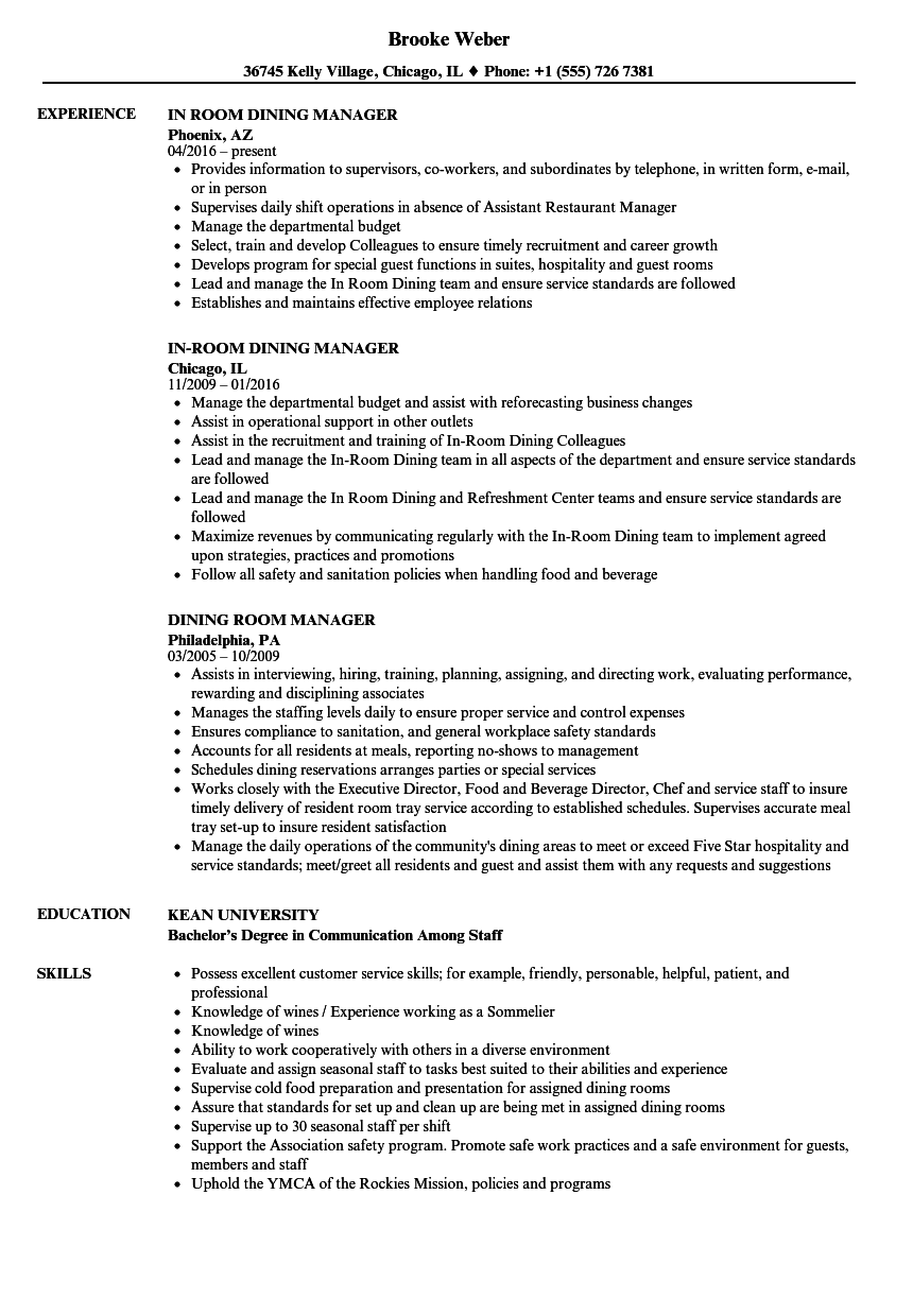 Dining Room Manager Resume Samples Velvet Jobs