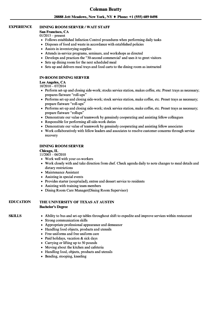 Dining Room Server Resume Samples | Velvet Jobs