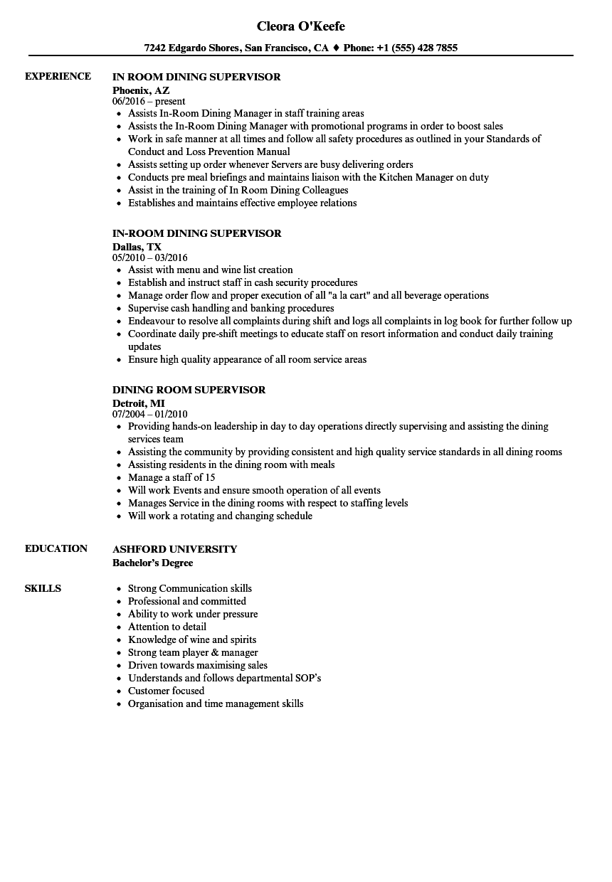 Download Dining Room Supervisor Resume Sample As Image File
