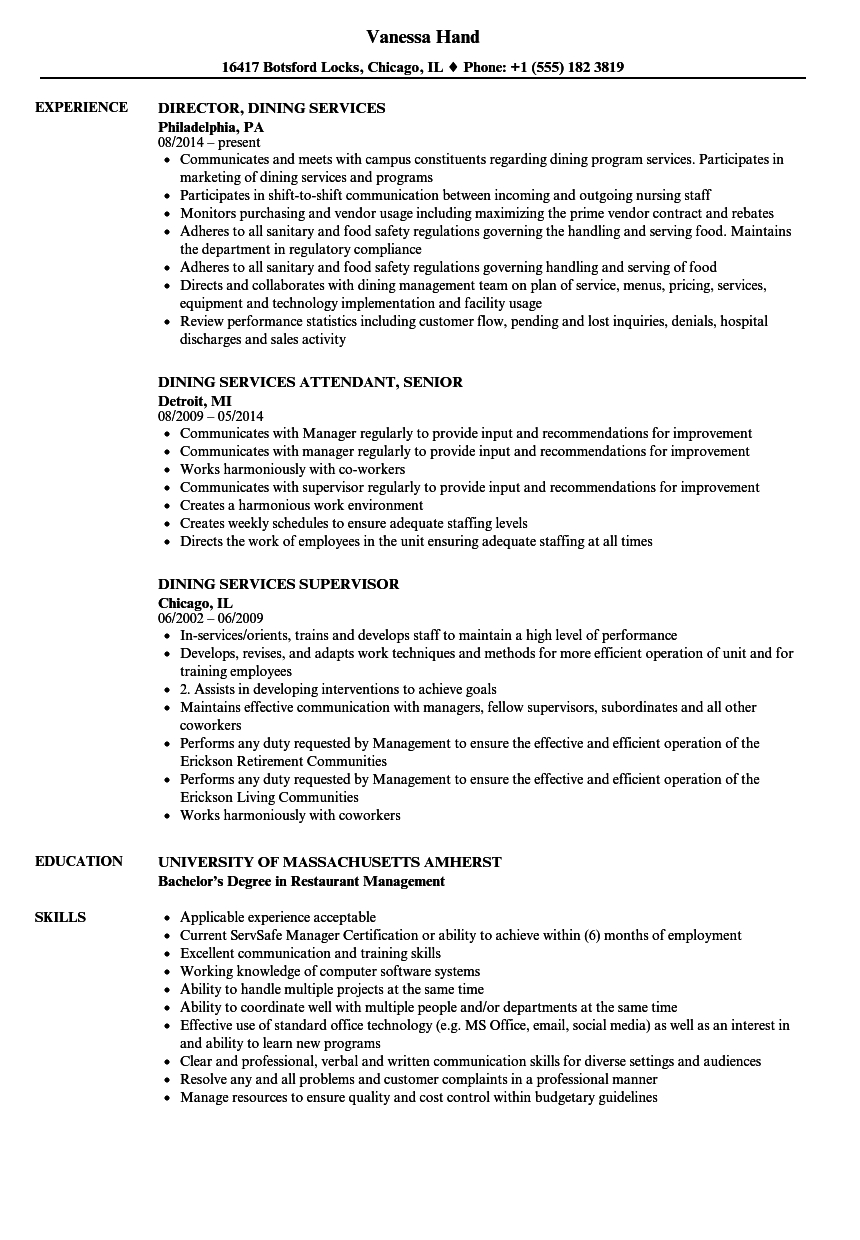 Download Dining Services Resume Sample As Image File