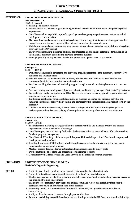 Dir Business Development Resume Samples Velvet Jobs