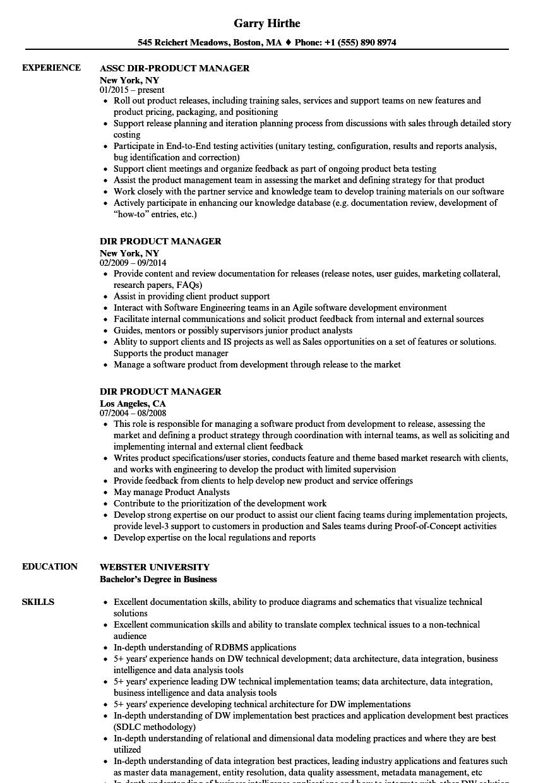 dir product manager resume samples velvet jobs