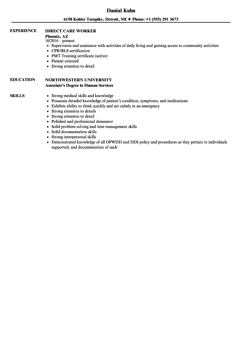 Direct Care Worker Resume Samples