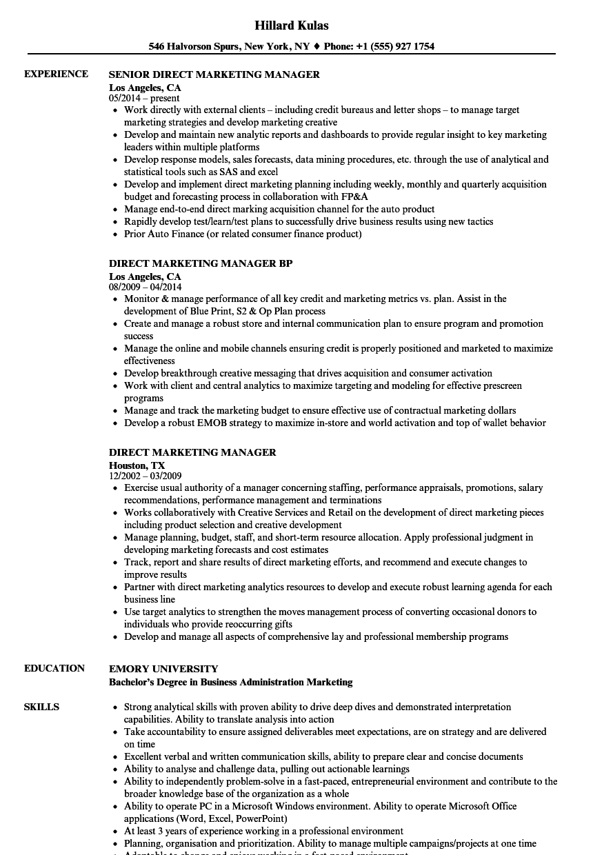direct marketing manager resume samples