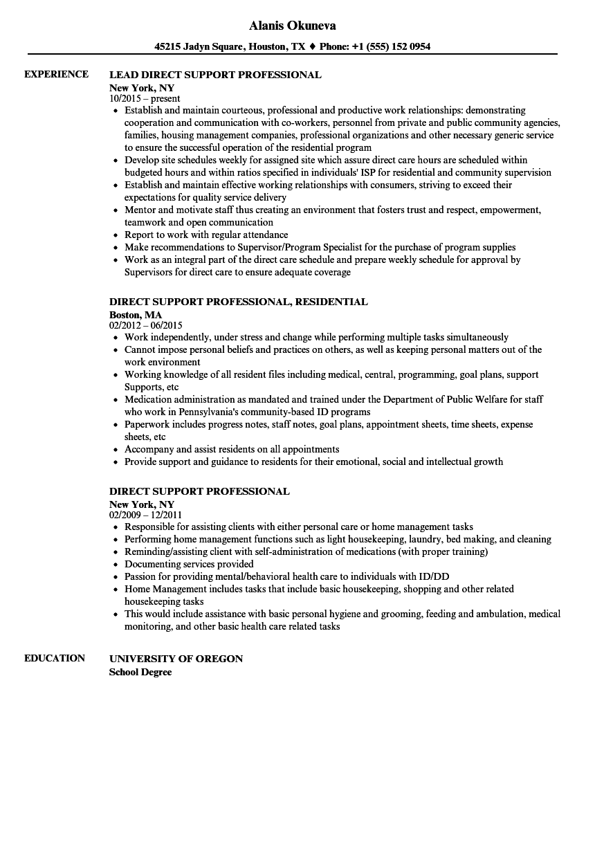 direct support professional resume samples velvet jobs