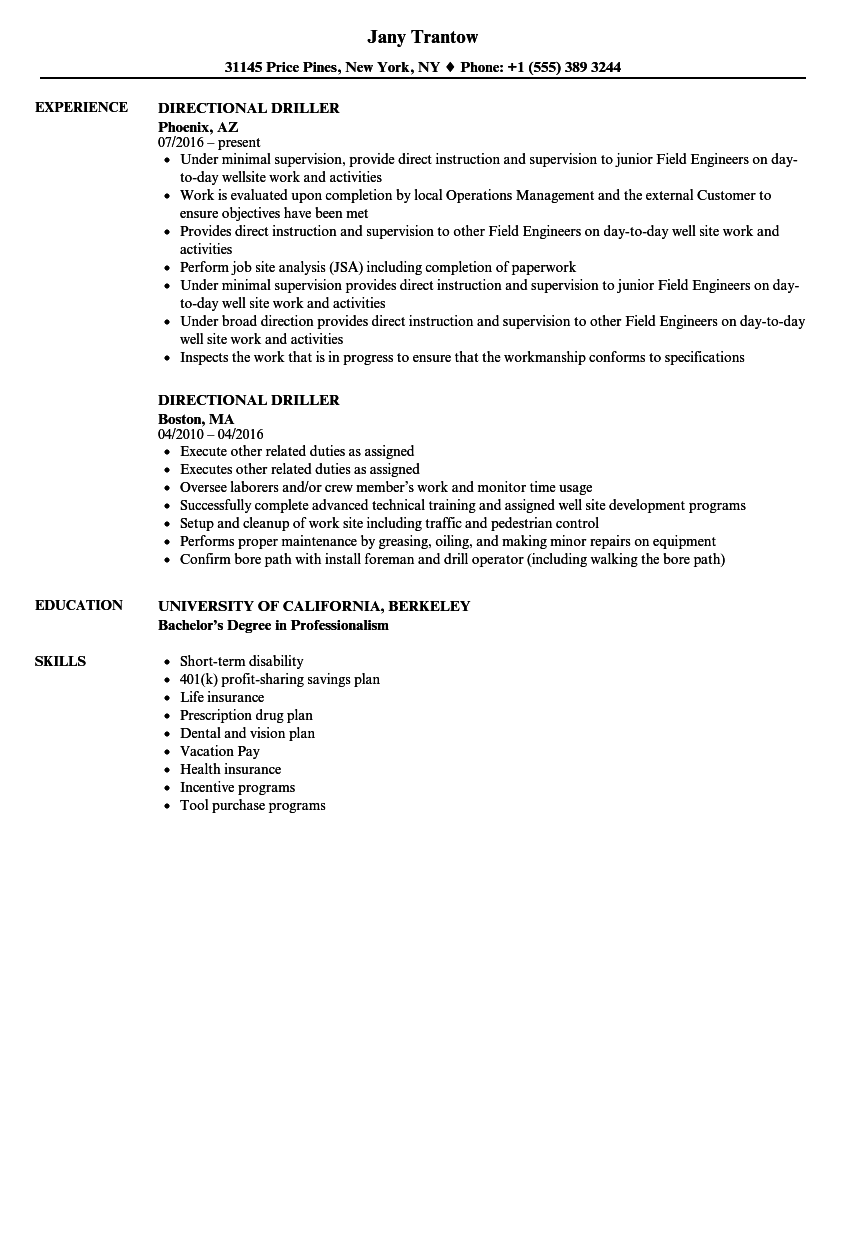 Directional Driller Resume Samples Velvet Jobs