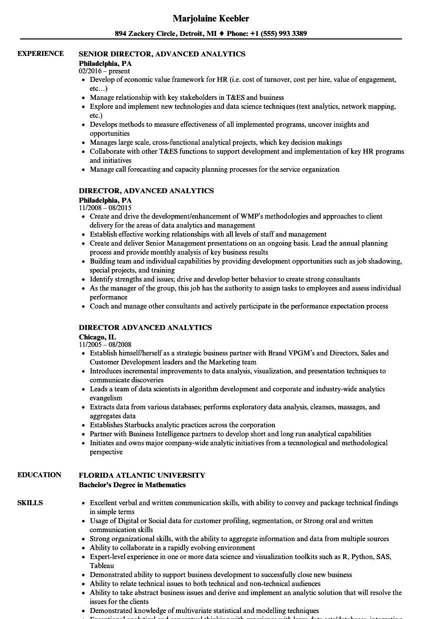 director  advanced analytics resume samples