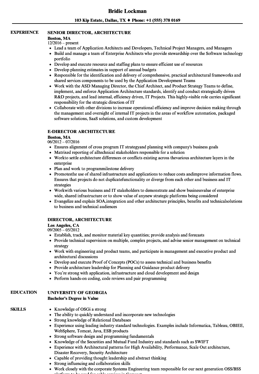 Download Director Architecture Resume Sample As Image File  Architecture Resume Sample