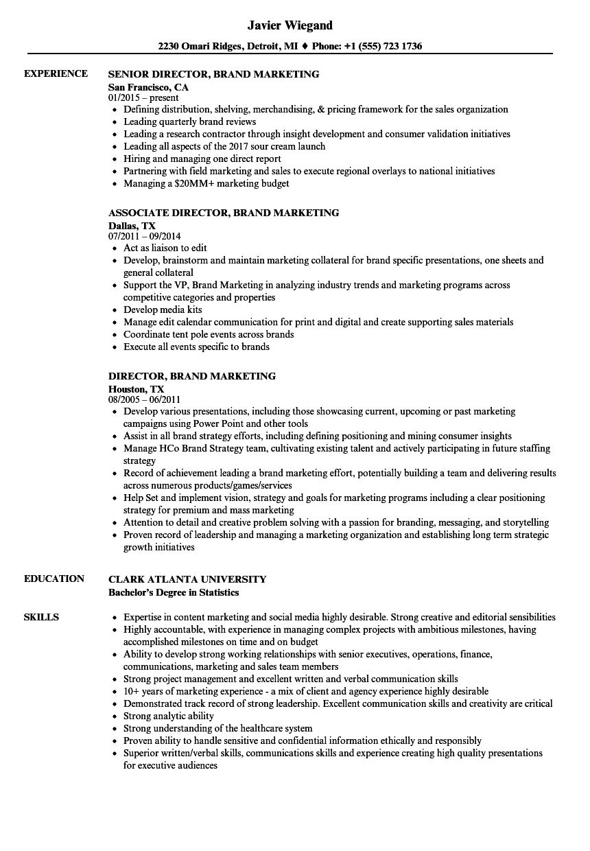 director  brand marketing resume samples
