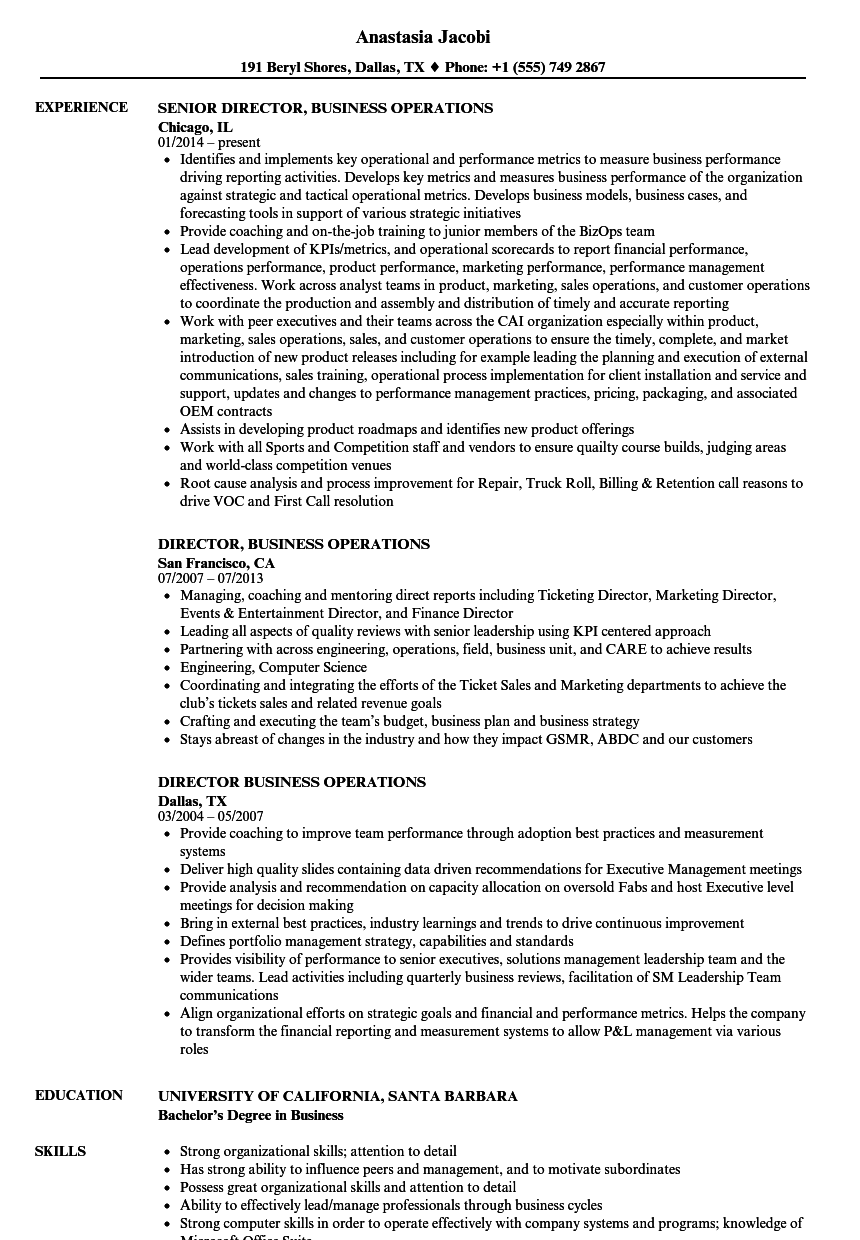 download director business operations resume sample as image file - Director Of Operations Resume