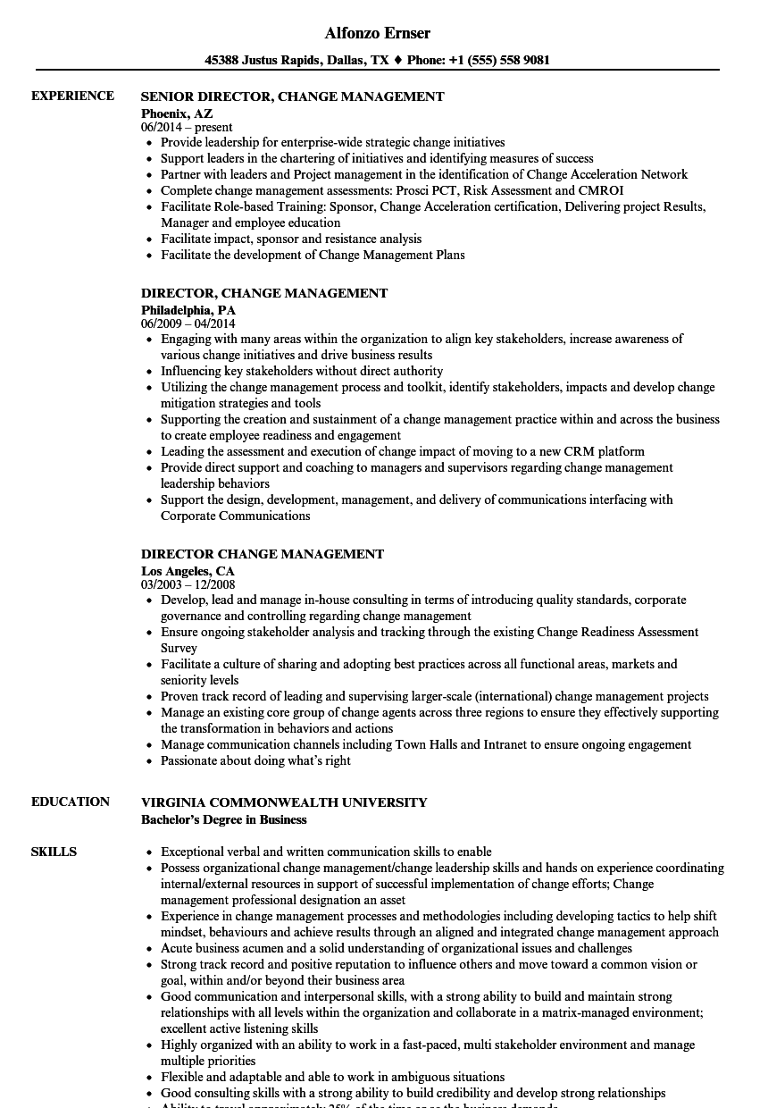 Director, Change Management Resume Samples | Velvet Jobs