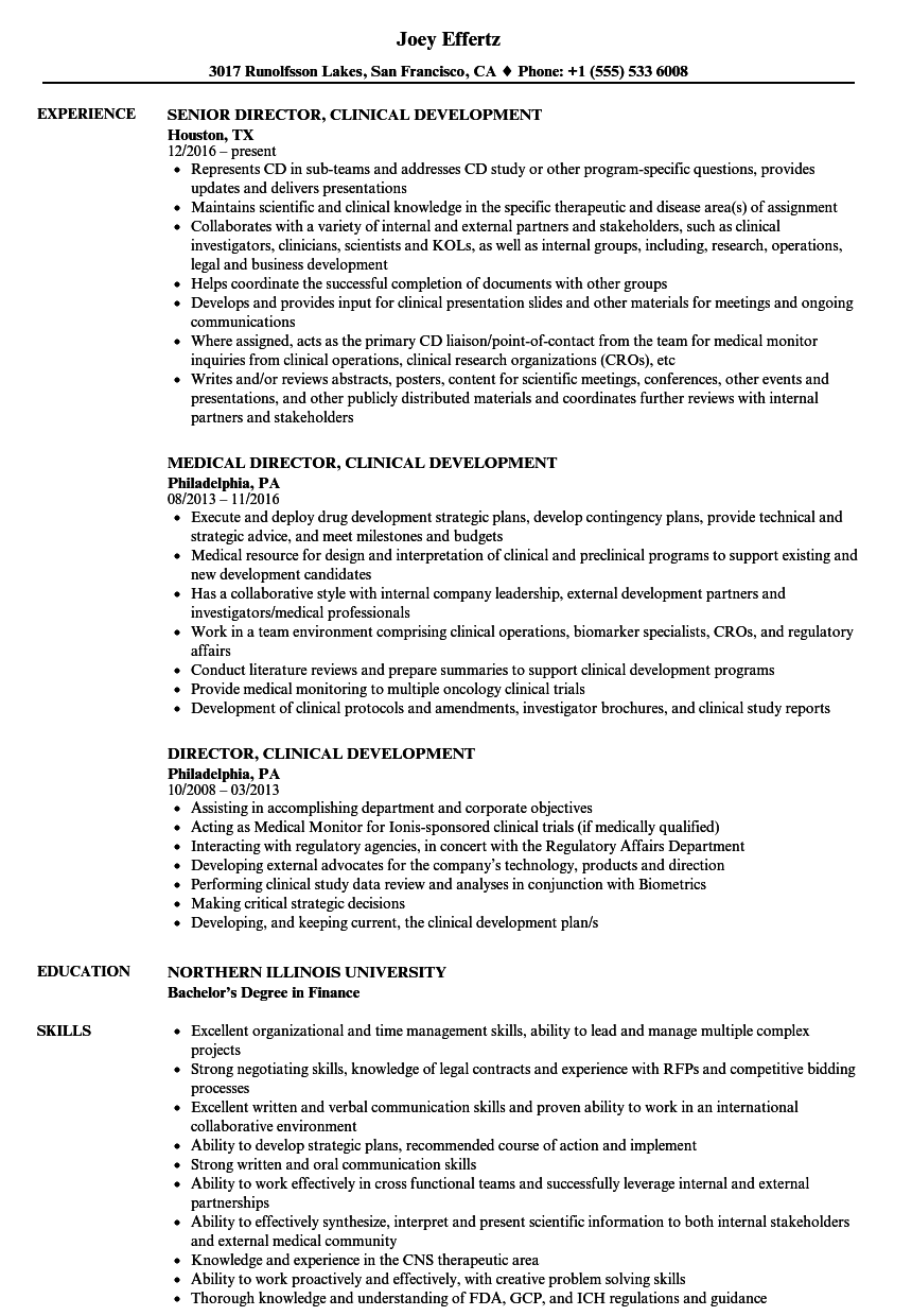 Director, Clinical Development Resume Samples | Velvet Jobs
