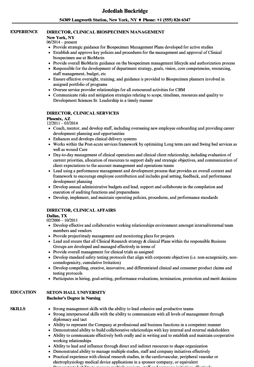 director  clinical resume samples