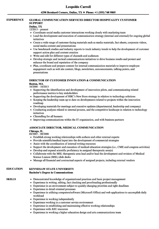 Director Communication Resume Samples | Velvet Jobs