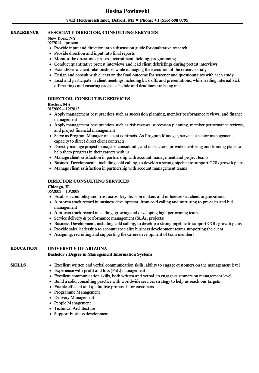 director  consulting services resume samples