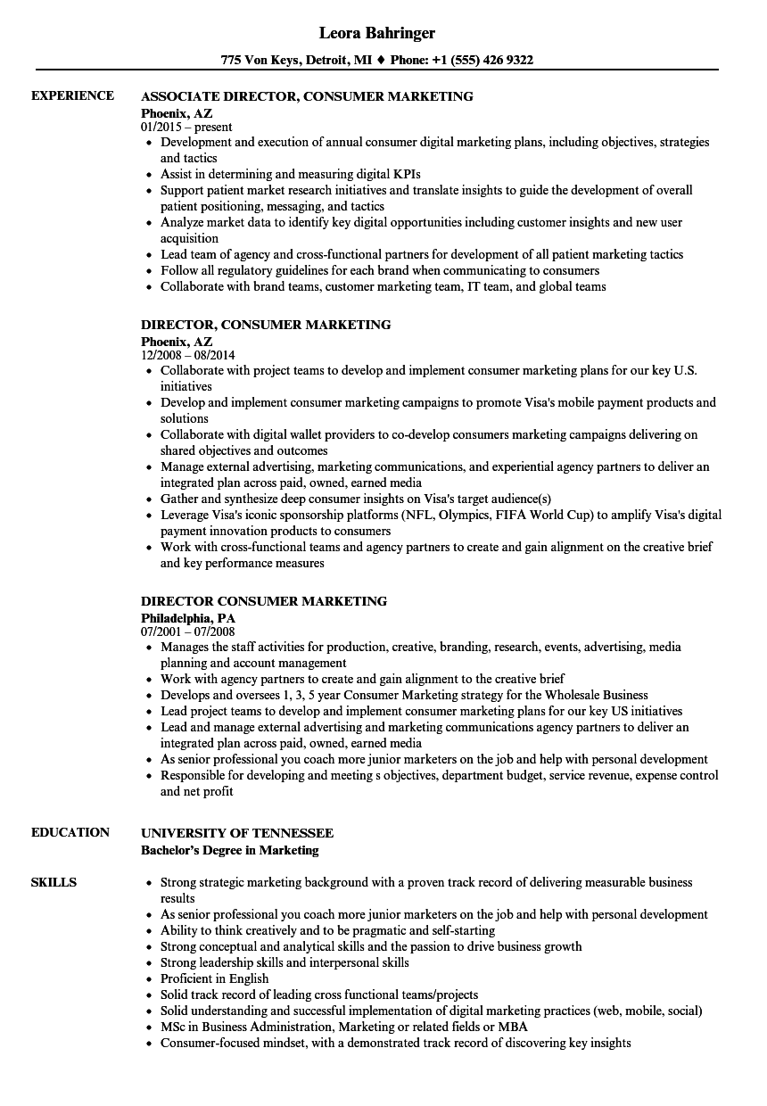 Download Director Consumer Marketing Resume Sample As Image File  Director Of Marketing Resume