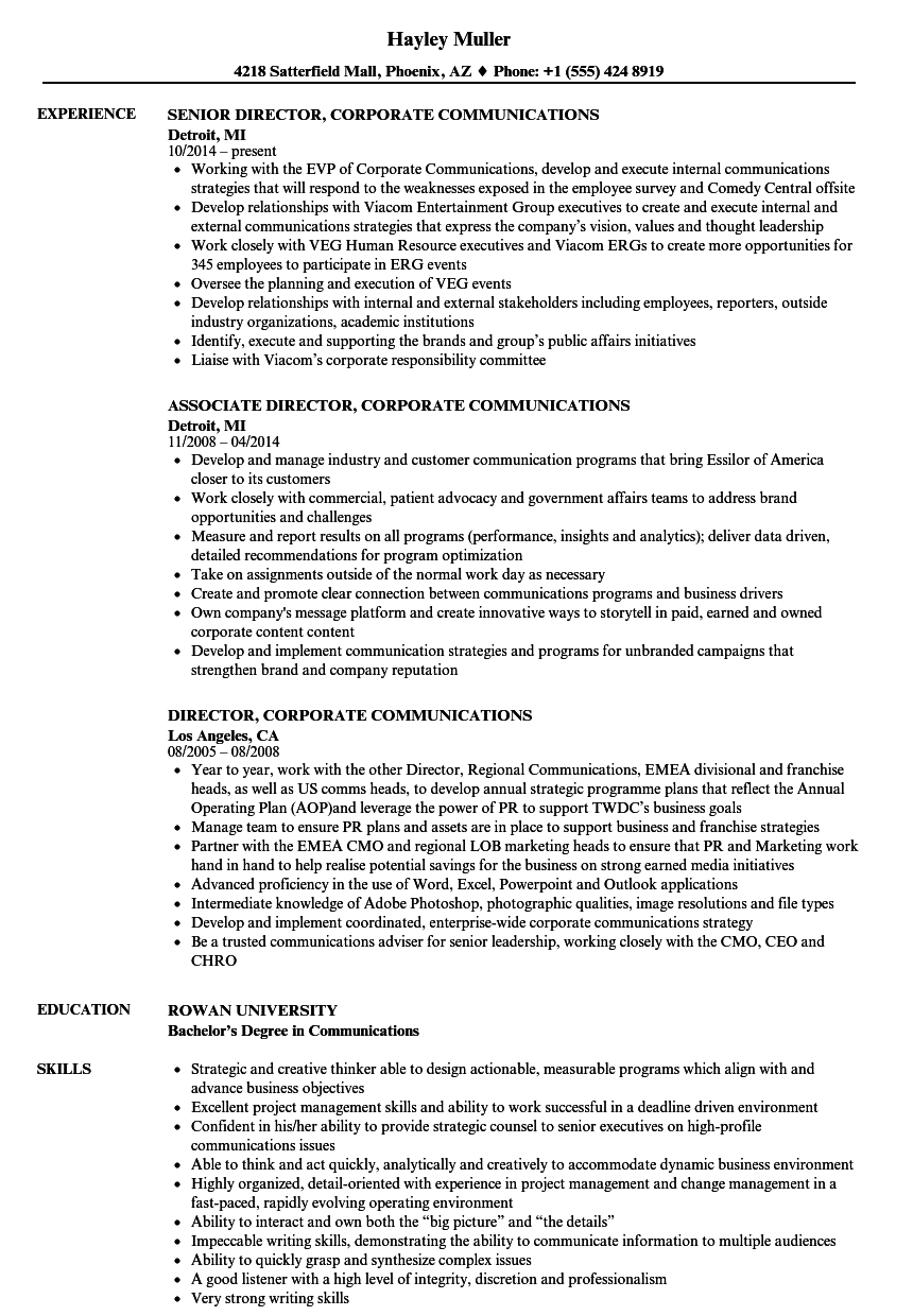 Director Corporate Communications Resume Samples Velvet