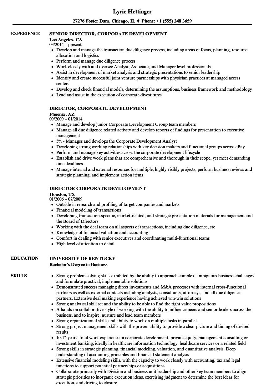 director  corporate development resume samples