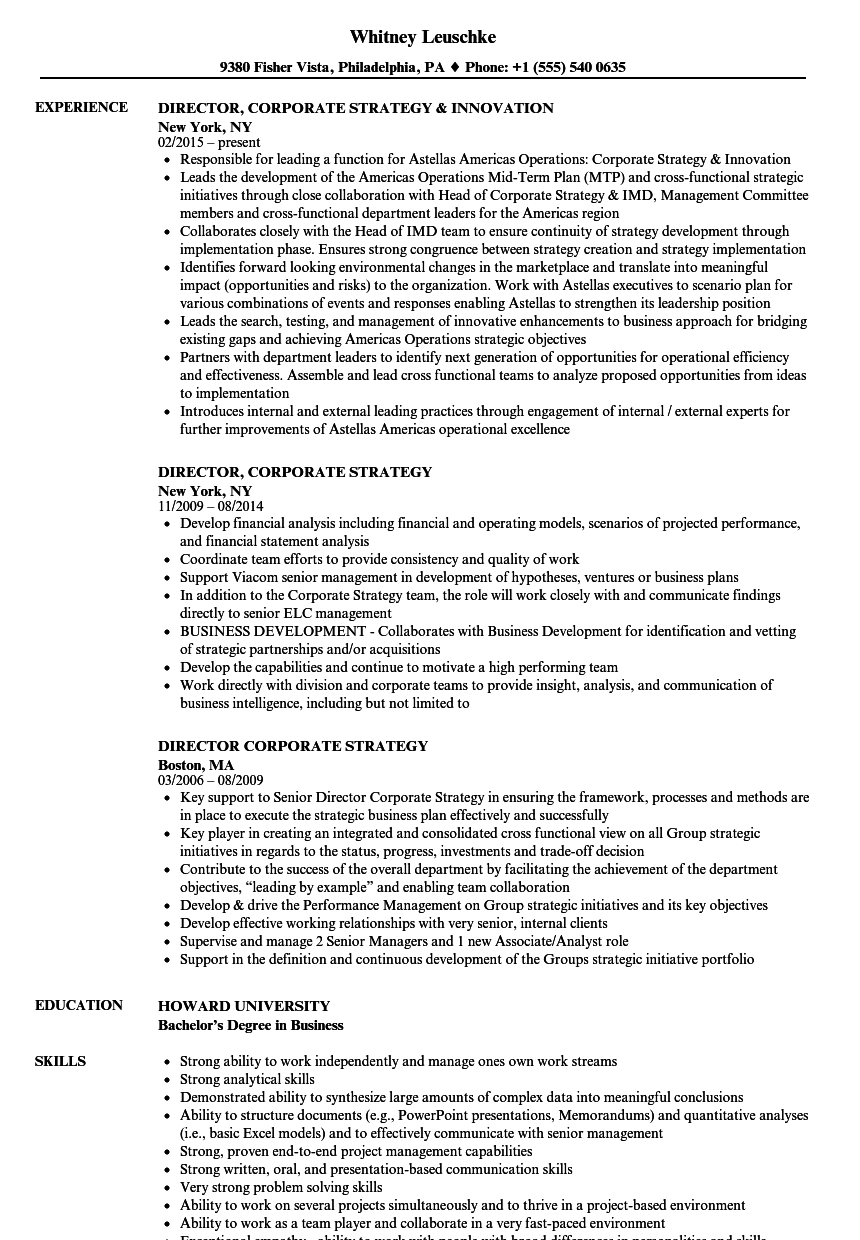 director  corporate strategy resume samples