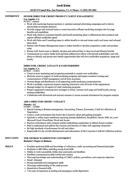 director  credit resume samples