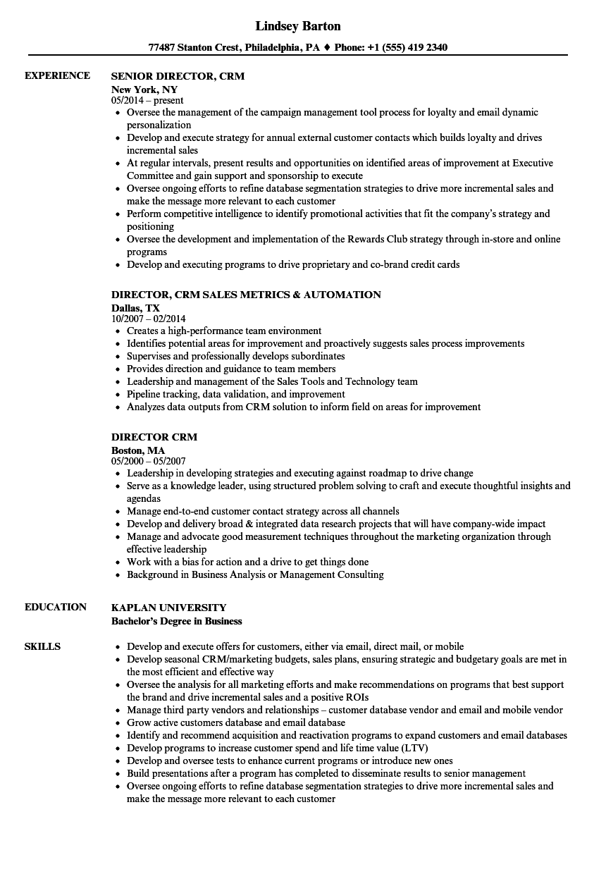 director  crm resume samples