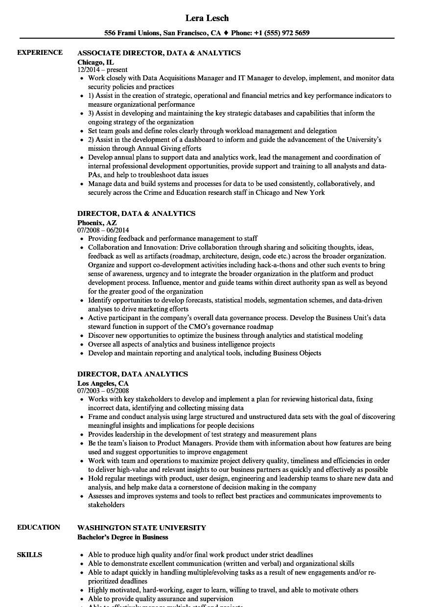 director  data  u0026 analytics resume samples