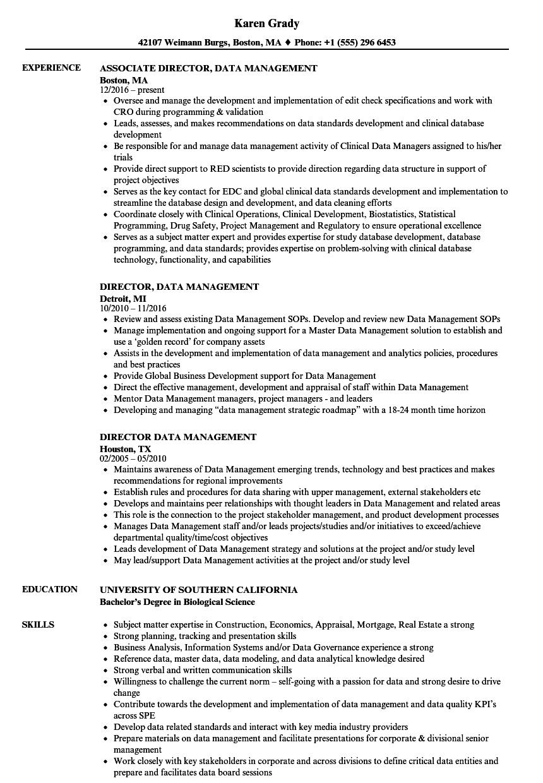 director  data management resume samples