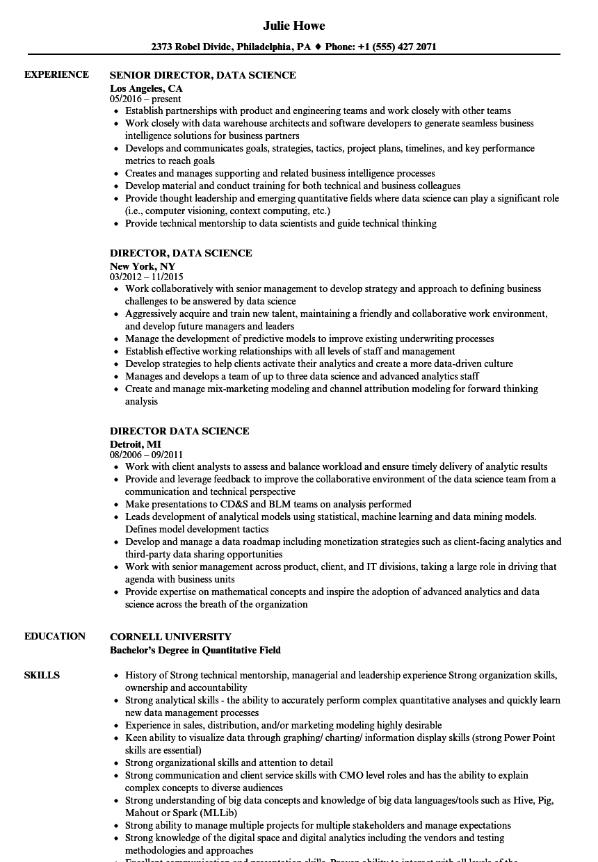 Director Data Science Resume Samples Velvet Jobs