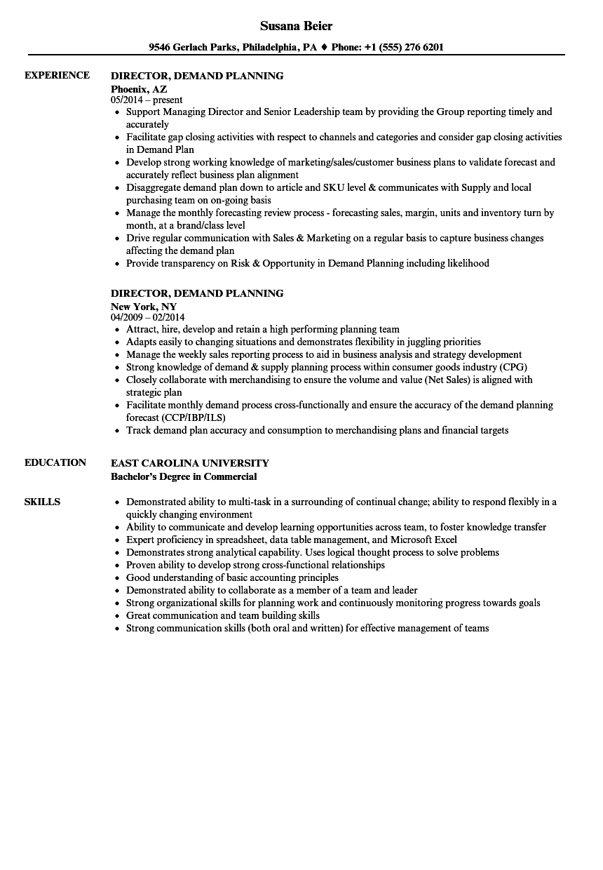director  demand planning resume samples
