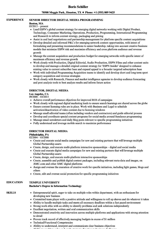 director  digital media resume samples