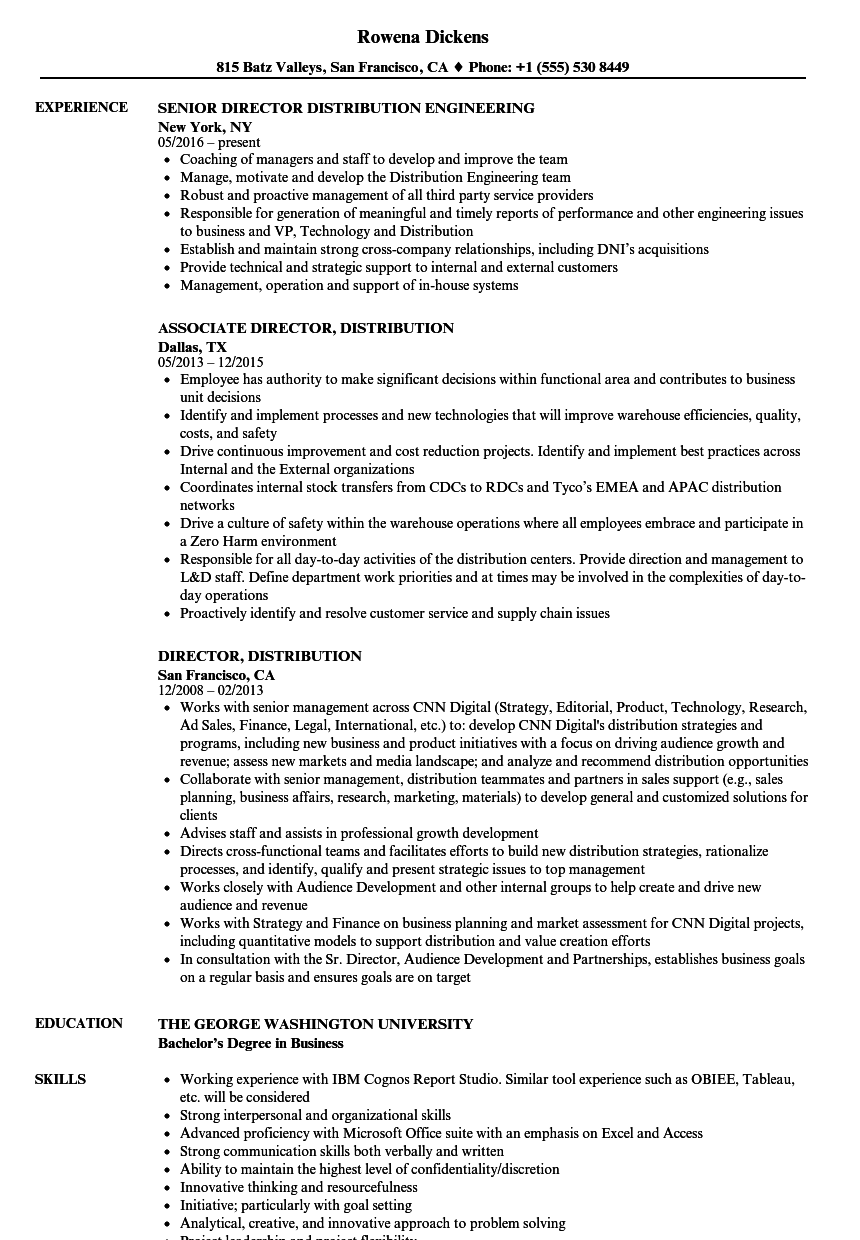 distribution center management resume