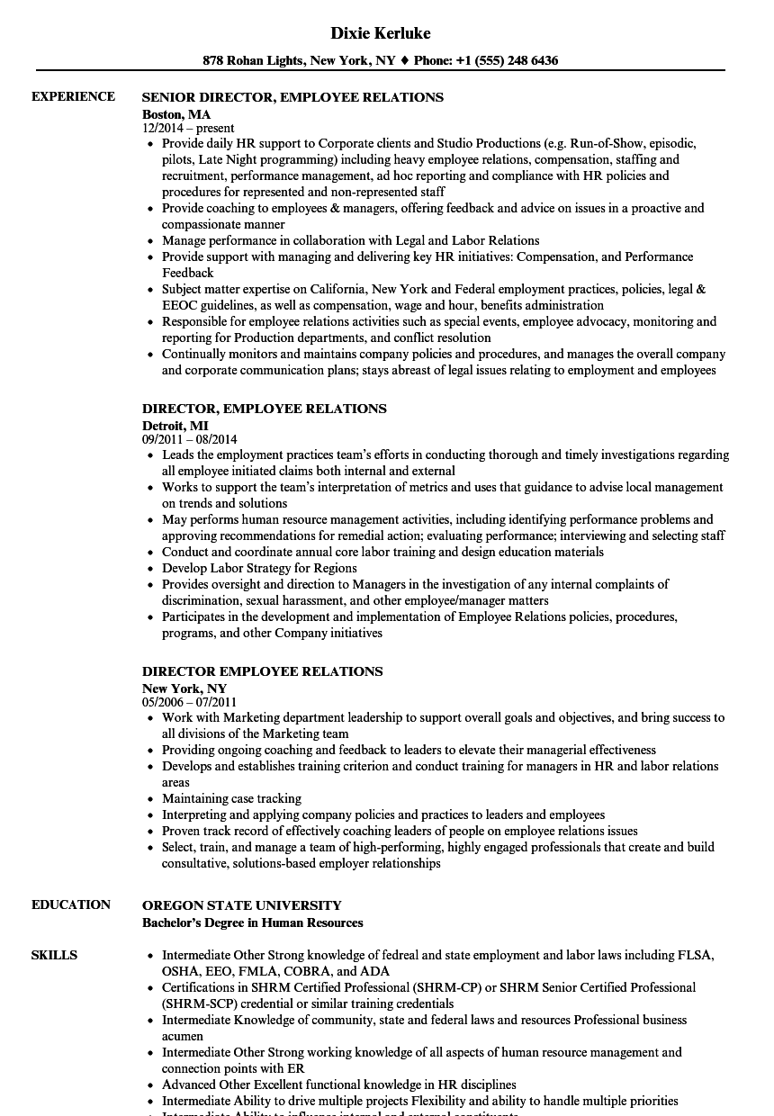 Director Employee Relations Resume Samples | Velvet Jobs