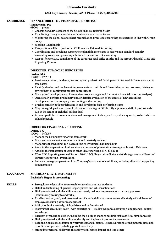 Director Financial Reporting Resume Samples Velvet Jobs
