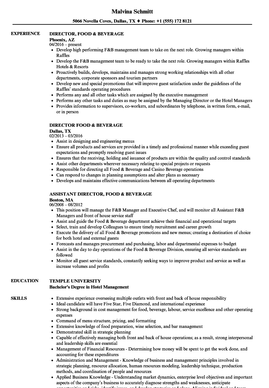 director  food  u0026 beverage resume samples