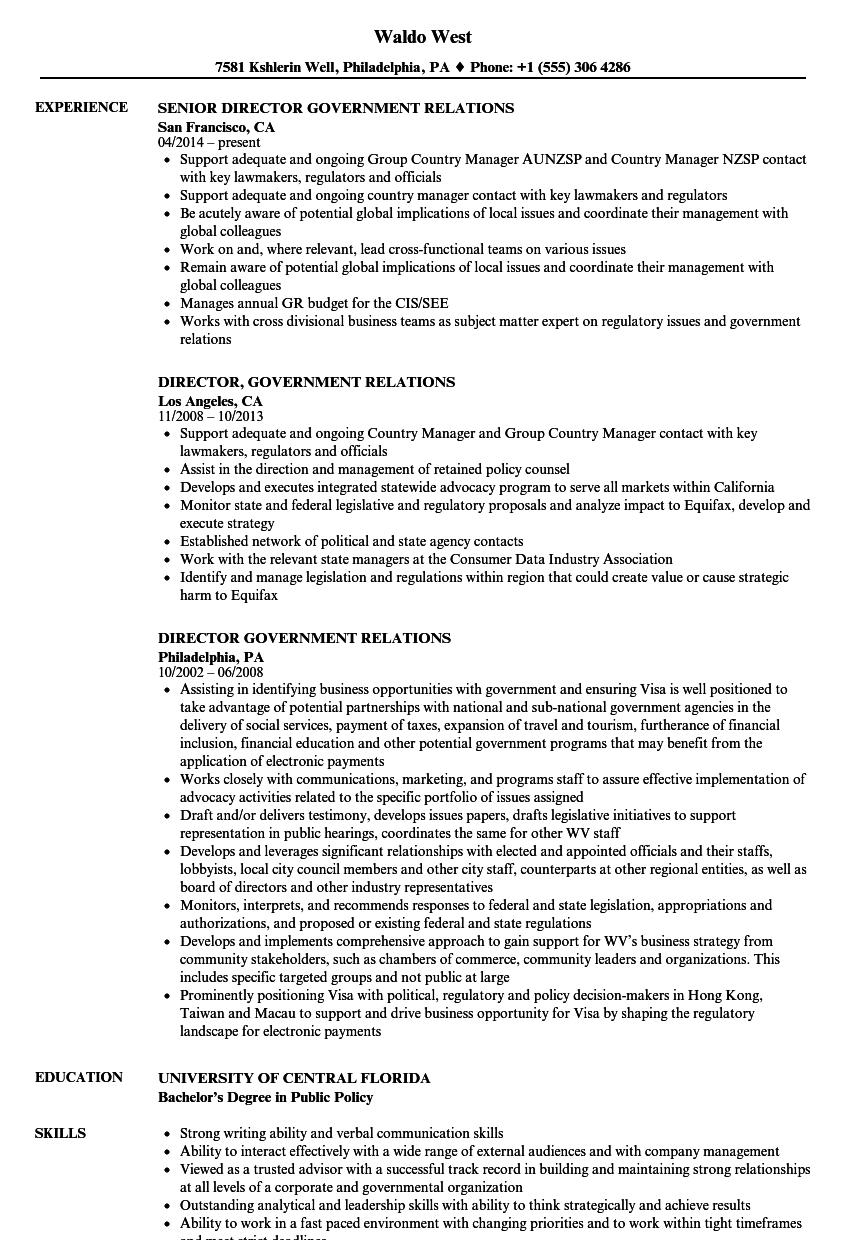 Director, Government Relations Resume Samples | Velvet Jobs