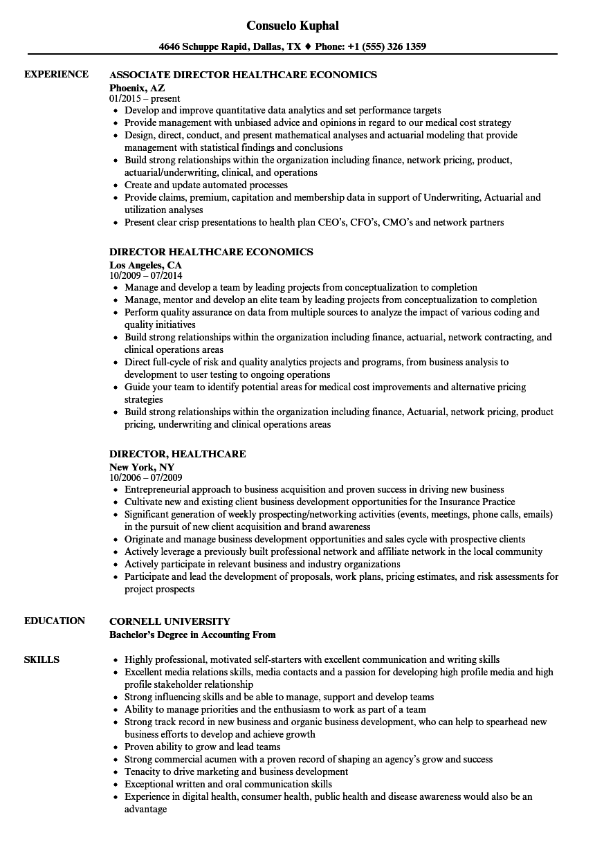 director  healthcare resume samples