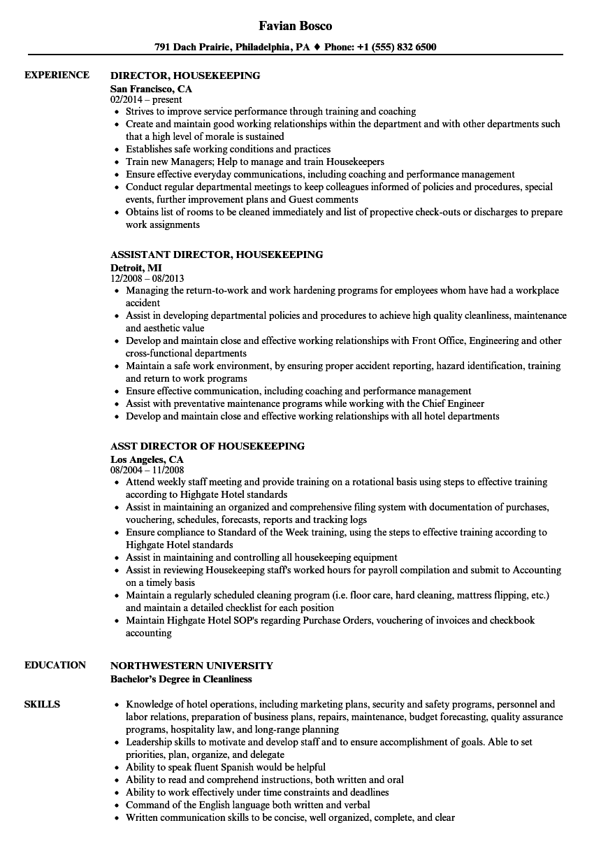 Director, Housekeeping Resume Samples | Velvet Jobs