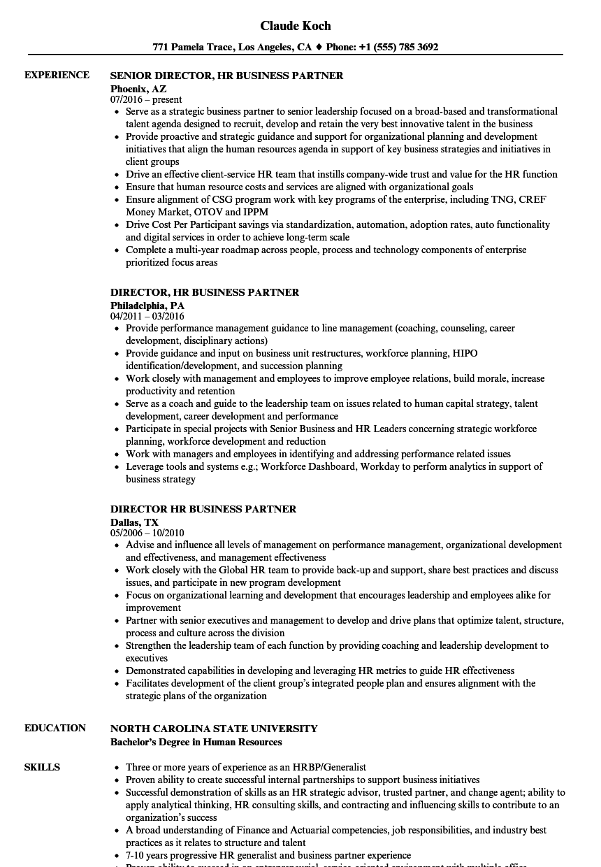 director  hr business partner resume samples