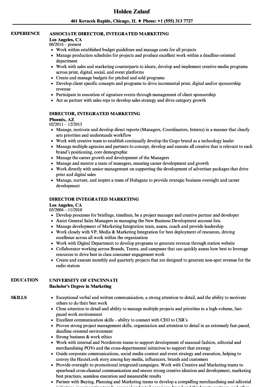 director integrated marketing resume samples velvet jobs
