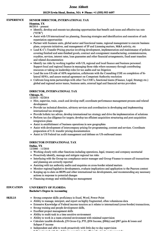Director, International Tax Resume Samples | Velvet Jobs