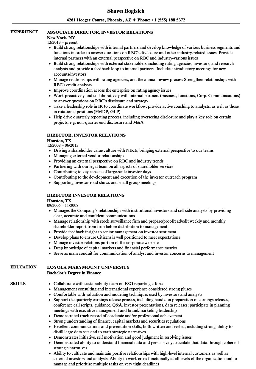 Download Director Investor Relations Resume Sample As Image File