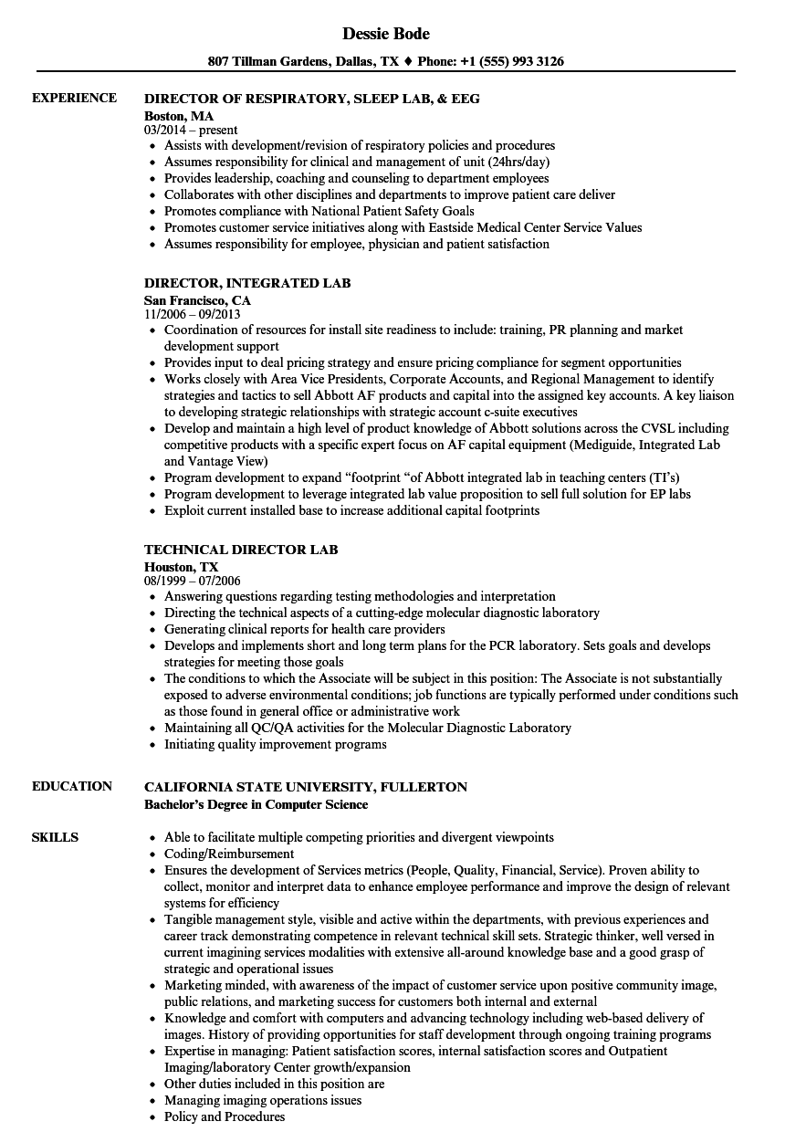 director  lab resume samples