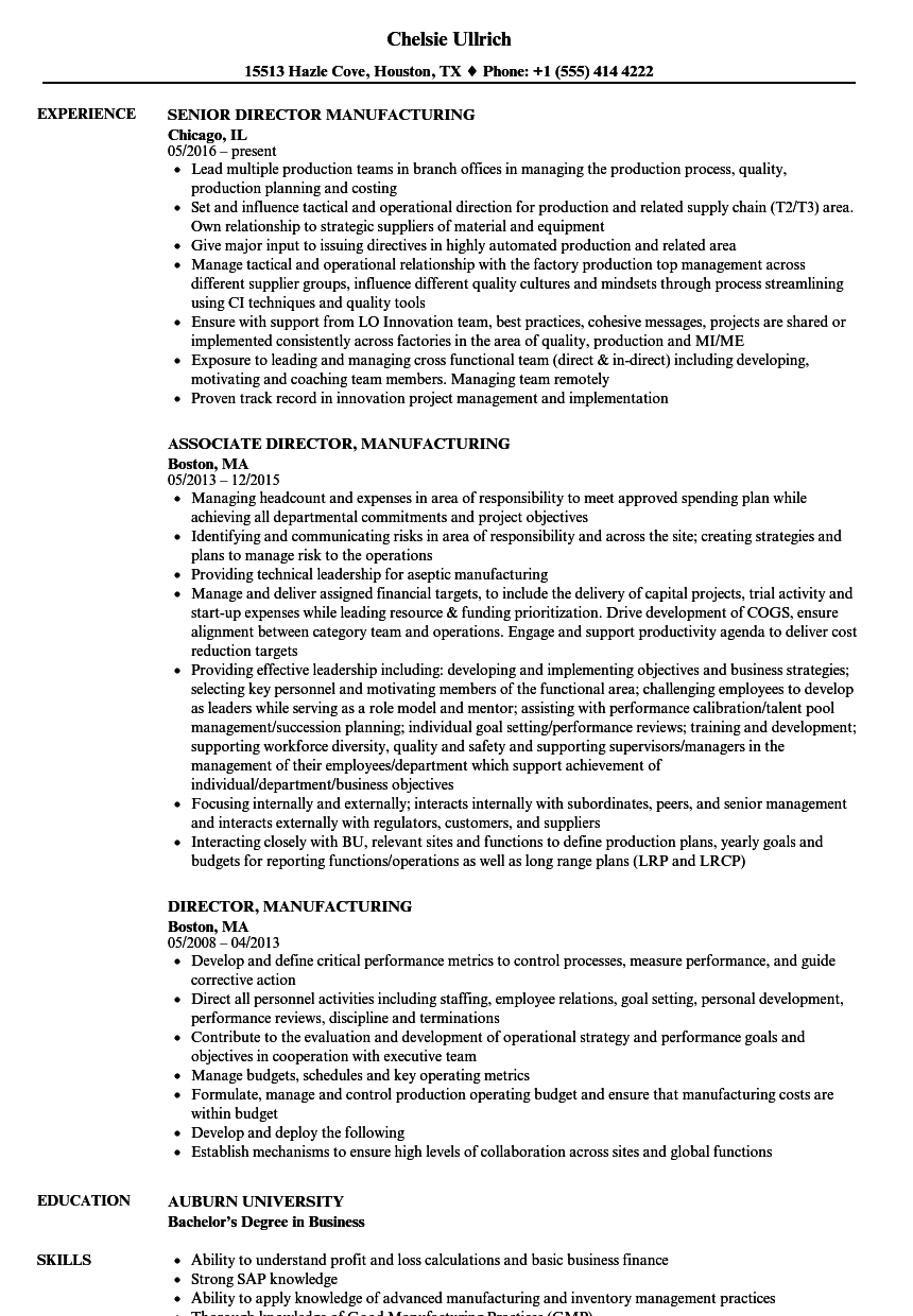 Director Manufacturing Plant Resume Examples U0026 Samples  Manufacturing Resume Samples