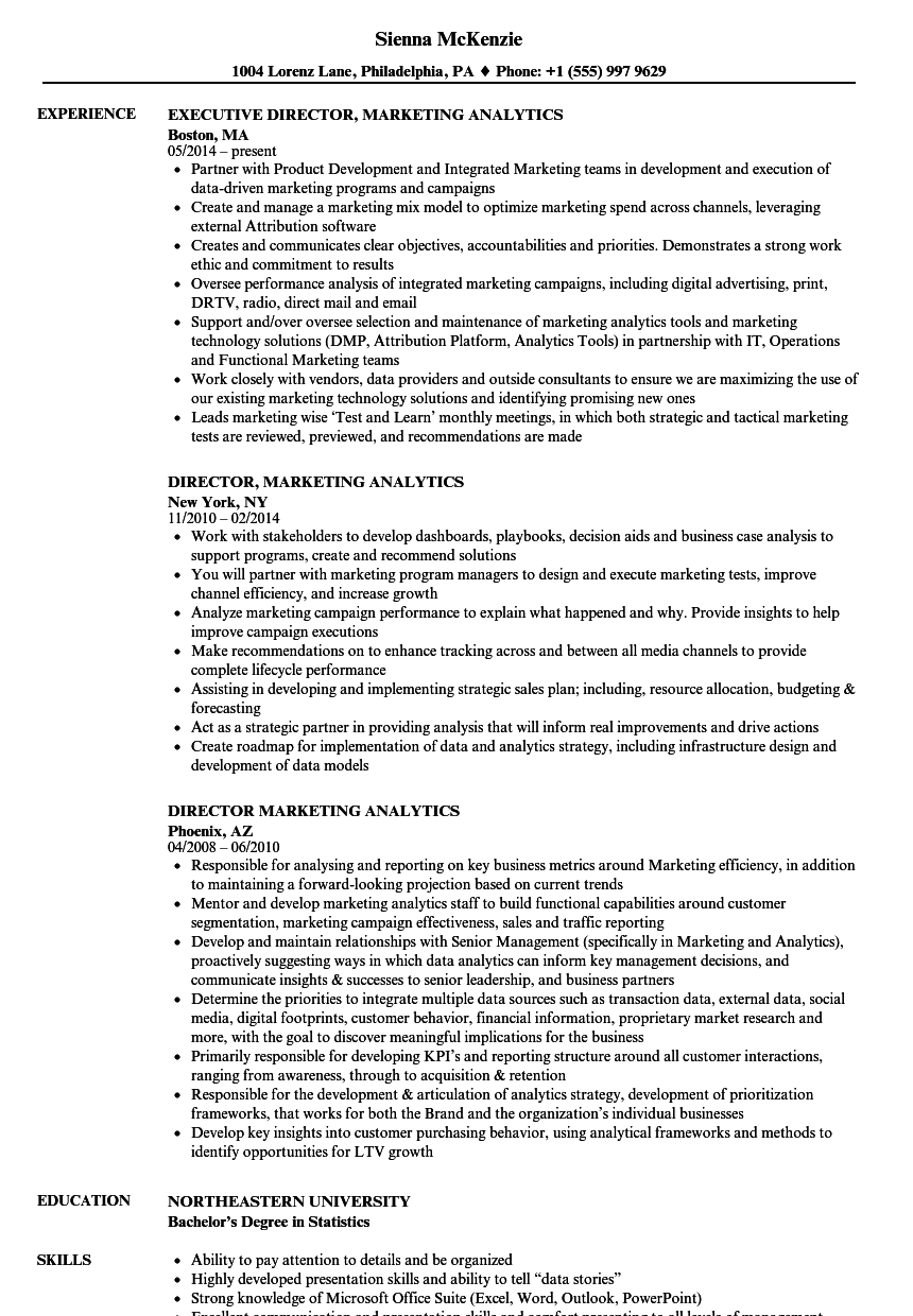 director marketing analytics resume samples velvet jobs
