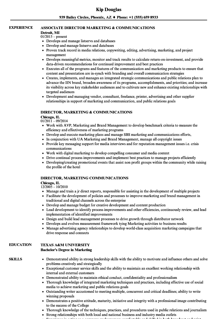 director  marketing  u0026 communications resume samples
