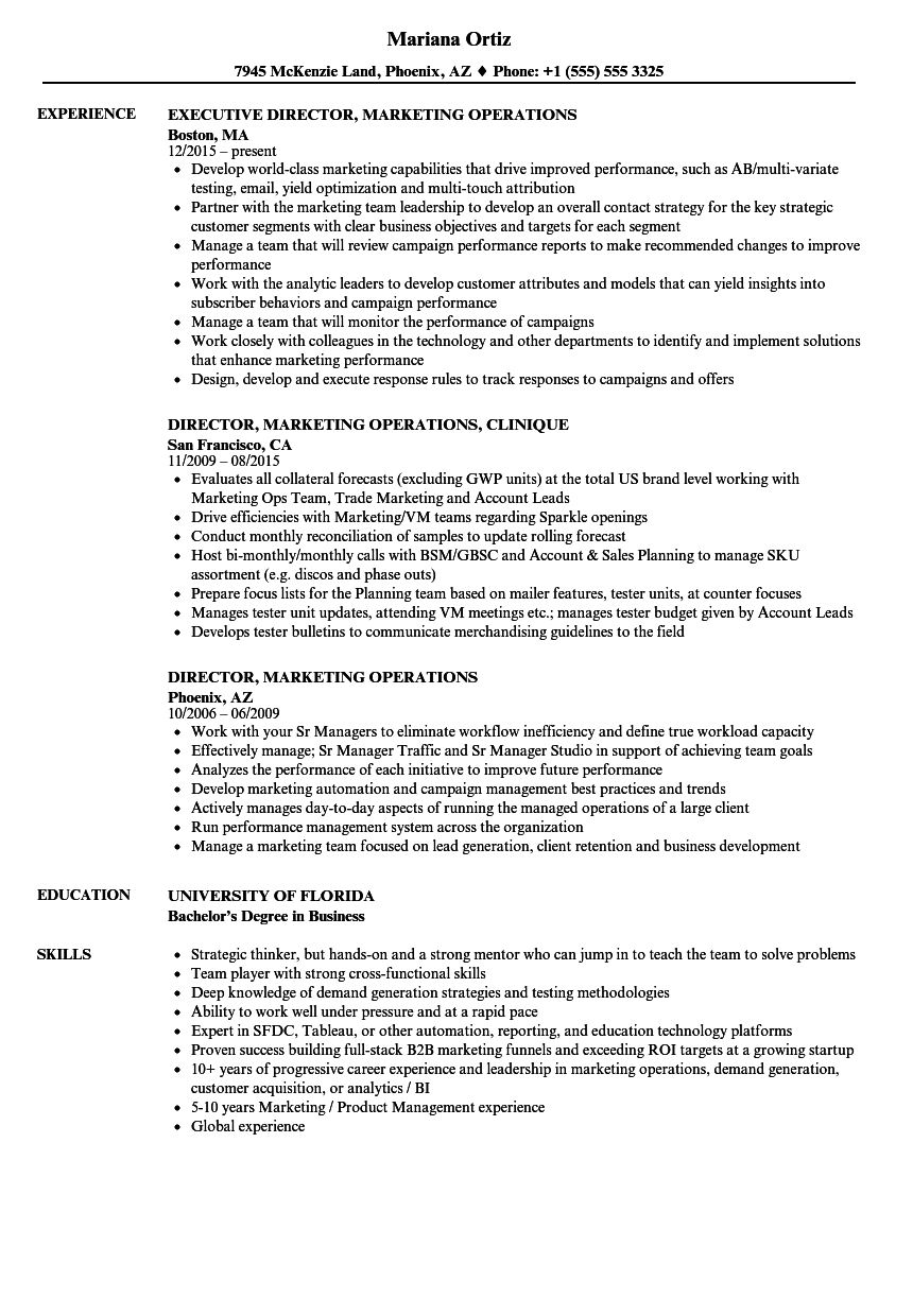 download director marketing operations resume sample as image file - Director Of Operations Resume