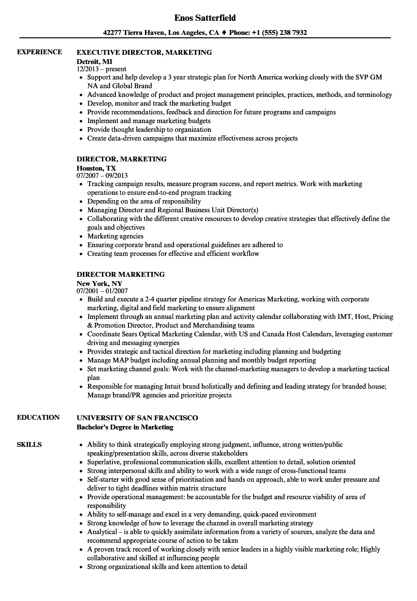 Director Marketing Resume Samples Velvet Jobs
