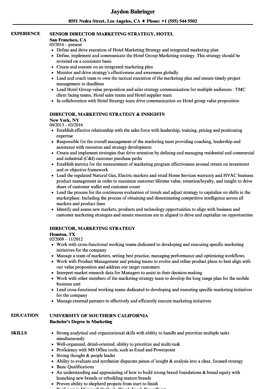 director  marketing strategy resume samples
