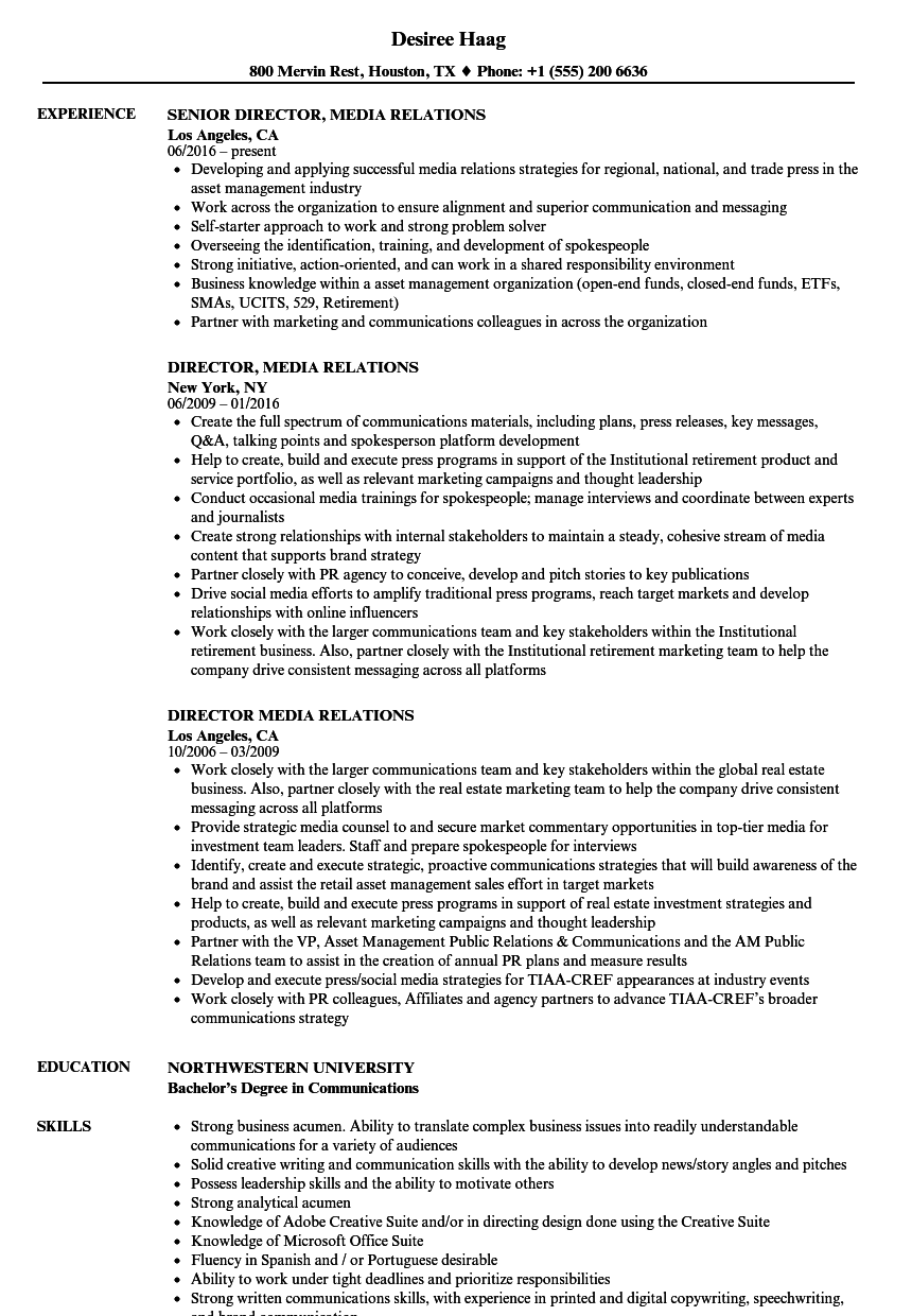 Director, Media Relations Resume Samples | Velvet Jobs